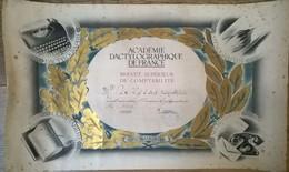 Brevet Supérieur De Comptabilité Académie Dactylographique De France 1960 - Diploma & School Reports