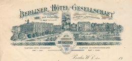 "Allemagne - Berlin - Lettre Illustrée 1900 - Berliner Hôtel Gesellschaft - Wein-grosshandlung ""Der Kaiserhof"". - Sports & Tourism"