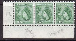 Trinidad And Tobago 1953-9 $1.20 Definitive Marginal Strip Of 3, Perf. 11½, MNH, SG 277a - Trinidad & Tobago (...-1961)