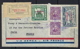 Lettre En Recommandé Du Paraguay Par Zeppelin Pour Paris, Arrivé Le 17 / 11 / 38 En L R - Uruguay