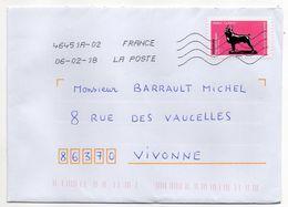 """2018-tp Adhésif""""Animaux Dans L'Art""""François Poupom-chien Boston Terrier Seul Sur Lettre--  Cachet  Toshiba - 1961-...."""