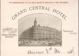 Irlande - Royaume-Uni - Belfast - Belle Lettre Illustrée Du 31 Décembre 1897 - Grand Central Hôtel . - Royaume-Uni