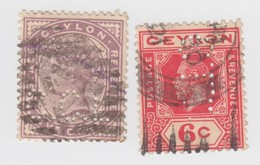 CEYLON LOT PERFIN   / 6 /  7502 - Ceylon (...-1947)