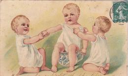"""95. CARTE FANTAISIE . """" ENFANTS """". BÉBÉ SUR LE POT. CARTE GAUFRÉE. ANNÉE 1908 - Cartes Humoristiques"""