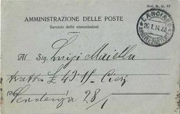 MODULO SERVIZIO DELLE COMMISSIONI CON ANNULLO LANCIANO DEL 26/01/1914 - MOD. S. C. 17 - Marcofilie