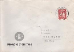 Sarre Saar Saarbrücken Brief 1950 Lettre à Entête Salomons Stoffetage - 1947-56 Occupazione Alleata
