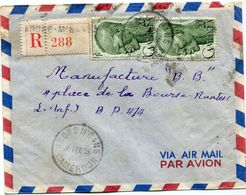 CAMEROUN LETTRE RECOMMANDEE PAR AVION DEPART ABONG-M'BANG 20 DEC 56 CAMEROUN POUR LA FRANCE - Cameroun (1915-1959)