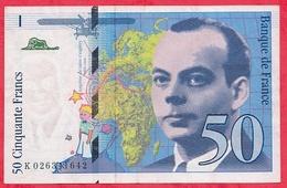 """50 Francs """"St Exupéry"""" 1994 N ° K.026341642 .....AU/SPL - 1992-2000 Last Series"""