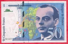 """50 Francs """"St Exupéry"""" 1999 N ° W.047502668 .....AU/SPL - 1992-2000 Last Series"""