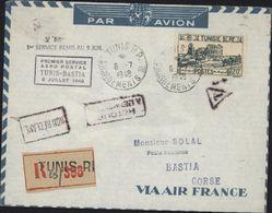 Aviation Poste Aérienne 1er Service Aéro Postal Aéropostal Tunis Bastia 6 7 1948 YT Tunisie RF 294 Par Avion Recommandée - Tunisia (1888-1955)