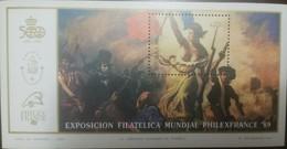 O) 1989 ARGENTINA, PHILEX FRANCE WORLD PHILATELIC EXHIBITION, PAINTING FREEDOM GUIDING THE PEOPLE -EUGENE DELACROIX-ROMA - Argentina