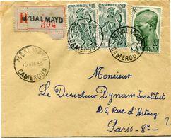 CAMEROUN LETTRE RECOMMANDEE DEPART M'BALMAYO 16 AOU 55 CAMEROUN POUR LA FRANCE - Cameroun (1915-1959)