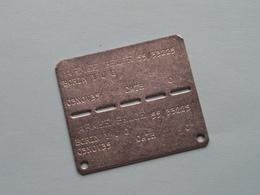 NAAMPLAAT Armée Belge 55/33225 / Borin 03 Nov 35 ( Zie Foto's Voor Detail ) ! - Equipment