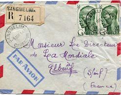 CAMEROUN LETTRE RECOMMANDEE PAR AVION DEPART SANGMELIMA 5 MAI 54 CAMEROUN POUR LA FRANCE - Cameroun (1915-1959)