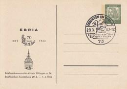 B PP 30/10b  ERBIA 70 Jahre 1893 - 1963 - Briefmarkensammler-Verein Eßlingen A.N. Briefmarken-Ausstellung 1963, Esllinge - Postales Privados - Usados