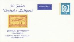 """B PP 31/8**  50 Jahre Deutsche Luftpost  Zeppelin-Luftschiff """"Sachsen""""  Kiegnitz An Der Katzbach November 1913 - Postales Privados - Nuevos"""
