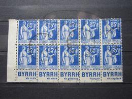 """VEND TIMBRES DE FRANCE N° 365 EN BLOC DE 10 + BANDE DE 5 PUBLICITES """" BYRRH """" !!! - Advertising"""