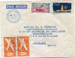 COTE FRANCAISE DES SOMALIS FRANCE LIBRE LETTRE PAR AVION DEPART DJIBOUTI 27-1-1951 POUR LE MAROC - Côte Française Des Somalis (1894-1967)