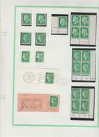 Page Du 30c. Vert Cheffer Avec 3 Coins Datés, 1 Timbre De Roulette Avec N°rouge - Dated Corners