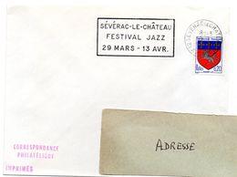 AVEYRON - Dépt N° 12 = SEVERAC Le CHATEAU 1968 ? = FLAMME SUPERBE & RARE = SECAP  ' FESTIVAL JAZZ ' - Oblitérations Mécaniques (flammes)