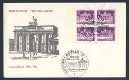 Deutschland Germany 1963 FDC + Mi 231 YT 125A - Brandenburger Tor (1830) Berliner Stadtbilder - Monumenten