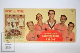 Old Spanish Chocolate Trading Card/ Chromo - 1954 World Championship Of  Roller Hockey - Spanish Team Winner - Chocolate