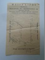 OK47.278  Hungary  WEISZ LIPÓT Fashion Store Budapest Szondy U.56 1939 - Facturas & Documentos Mercantiles