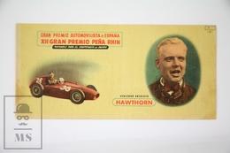 Old Spanish Chocolate Trading Card/ Chromo - Motorsport - Great Spanish Prize 1954 - Winner Mike Hawthorn - Chocolate