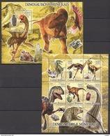 G16 2005 GUINE-BISSAU FAUNA PREHISTORIC ANIMALS DINOSAURS MINERAIS 1KB+1BL MNH - Prehistorics