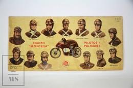 Old Spanish Chocolate Trading Card/ Chromo - 1950's Spanish Motorcycle Racing Team Montesa And The Pilots - Chocolate