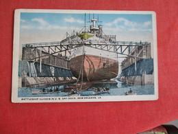 Battleship Illinois In Dry Dock New Orleans La. Ref 2841 - Warships