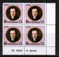 BARBADOS  Scott # 421** VF MINT NH CORNER BLOCK Of 4 LG-498 - Barbados (1966-...)