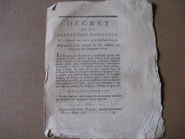 DECRET CONVENTION NATIONALE FABRICATION DE 300 MILLIONS D'ASSIGNATS 1792 REVOLUTION 50 LIVRES - ...-1889 Circulated During XIXth