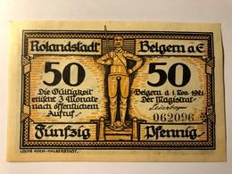 Allemagne Notgeld Belgern 50 Pfennig - [ 3] 1918-1933 : Weimar Republic