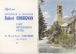Petit Calendrier Robert CORRIGNAN Café Restaurant Hotel  22100 DINAN 1975 - Calendriers