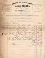 59 LILLE FACTURE 1873 Fabrique De TOILES Cirées  Maison CORBEL Vve DOURIEZ  *  Z67 - France