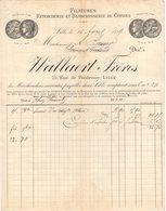59 LILLE FACTURE 1889 FILATURES RETORDERIE  WALLAERT   *  Z67 - France
