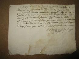 ATTESTATION MANUSCRITE CURE DE LUPPE EN FOREST SUR GROSSESSES CACHEES 1708 VELAY LOIRE LOI HENRI II - Manuscrits