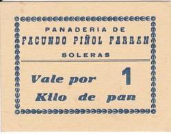 VALE POR 1 KILO DE PAN DE LA PANADERIA FACUNDO PIÑOL FARRAN DE SOLERAS (LLEIDA-LERIDA) - Monedas/ De Necesidad