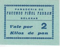 VALE POR 2 KILOS DE PAN DE LA PANADERIA FACUNDO PIÑOL FARRAN DE SOLERAS (LLEIDA-LERIDA) - Monétaires/De Nécessité