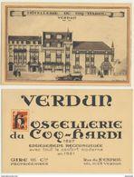 55) 2 Cartes : VERDUN : Hôtellerie Du Coq-Hardi (1827-1921) - Verdun