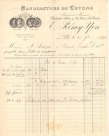 59 LILLE FACTURE 1889 Manufacture De Cotons  E. REMY YON  Anc. VANTROYEN  *  Z67 - France