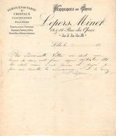 59 LILLE FACTURE 1900 VERRERIES En Gros Sevices De Table & Cristaux LEPERS MINET *  Z67 - France