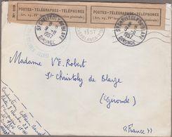 St-Chhristoly De Blaye 1957 Lettre En FM Ouverte Par Erreur De Casablanca... - Postmark Collection (Covers)