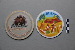 Lot De 2 Sous-Bocks Bière : Pschorr-Bräu, Riva Blanche Lucifer - Beer Mats