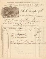 33 Bordeaux - Facture Illustrée 12 Février 1890 - Usine Modèle à Vapeur - Ch.de Lompuy & Cie -Confiseurs & Distillateurs - Alimentaire