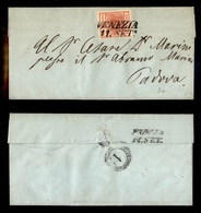 0003 ANTICHI STATI - LOMBARDO VENETO - 15 Cent Rosso Carminio (3c) - Letterina Da Venezia A Padova Del 11.9.51 - Leggera - Non Classés