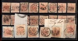 0006 ANTICHI STATI - LOMBARDO VENETO - 1850/1857 - Cartoncino Con 22 Esemplari Del 15 Cent (3/20) - Interessante - Da Es - Timbres