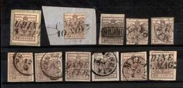 0007 ANTICHI STATI - LOMBARDO VENETO - 1850/1857 - Cartoncino Con 11 Esemplari Del 30 Cent (7/21) - Interessante - Da Es - Timbres