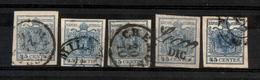 0008 ANTICHI STATI - LOMBARDO VENETO - 1850/1857 - Cartoncino Con 5 Esemplari Del 45 Cent (10/22) - Interessante - Da Es - Timbres